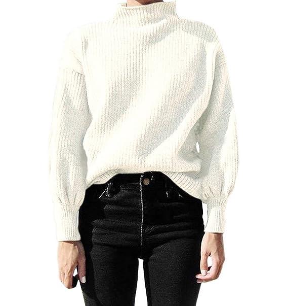 Simple-Fashion Otoño y Invierno Mujeres Casual Colores Lisos Prendas de  Punto Jerséis Blusa Tops Camisetas Joven Moda Cuello Alto Manga de la  Linterna ... 3f7f5470e520