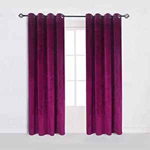 Cherry Home Large Size Fushcia Velvet Room Darkening Blackout Curtain Panel Drape Drapery 100 Inch Wide by 84 Inch Length with Grommet, Fushcia(1 Panel) with Matching Pillow and Tieback