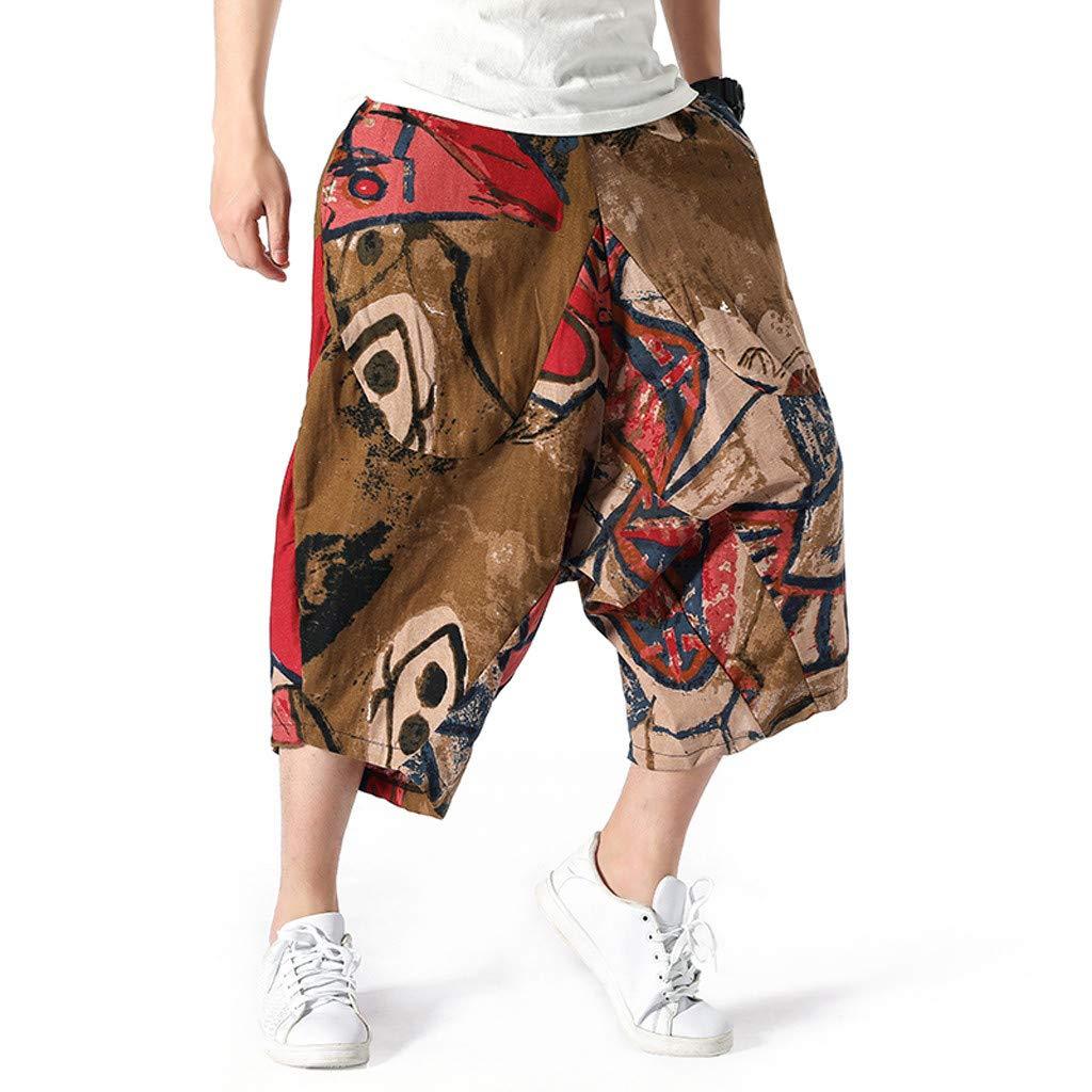 wodceeke Fashion Men's Printed Vintage Cotton Blends Linen Drop Crotch Jogging Harem Pants Yoga Trouser (L, Brown) by wodceeke (Image #2)