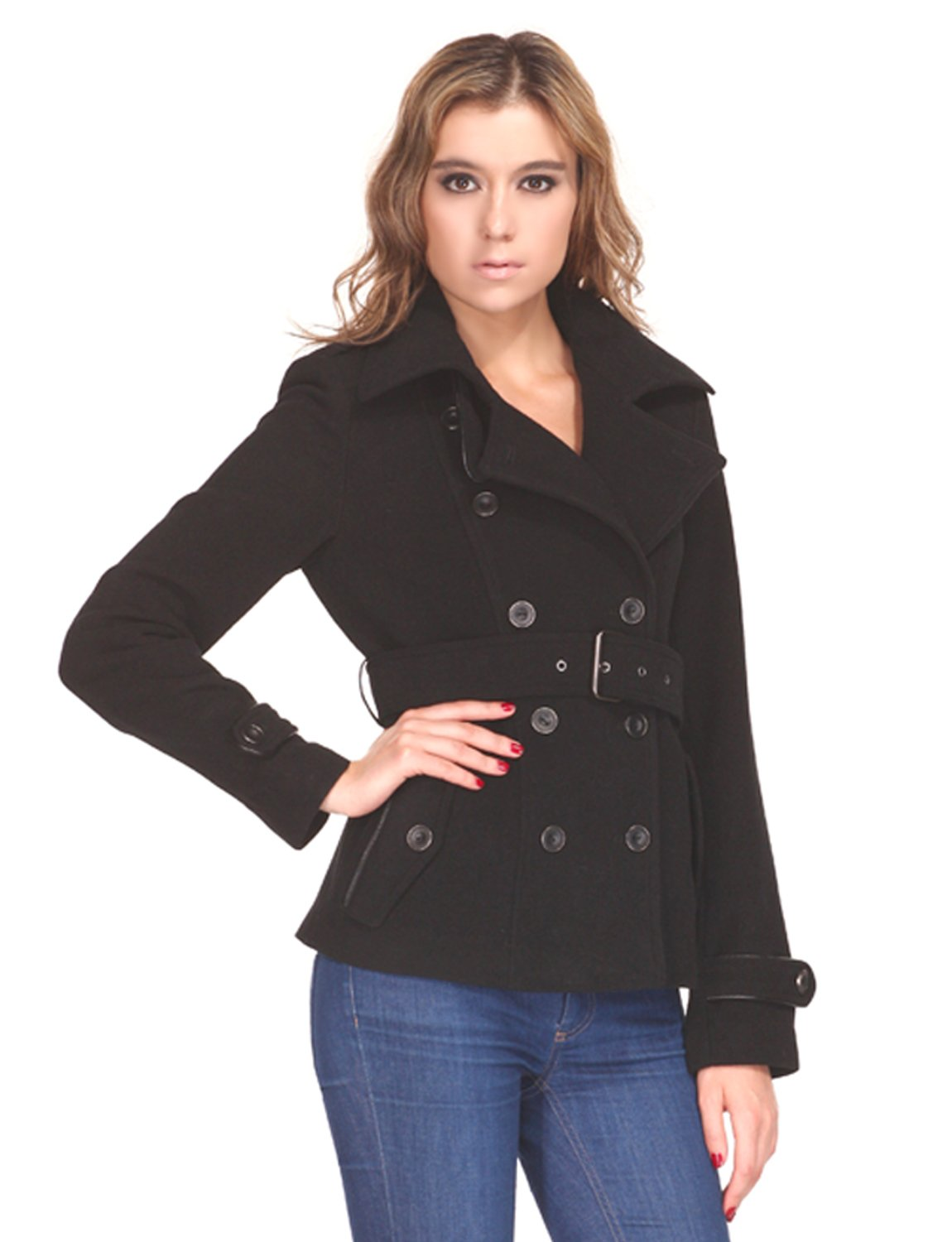 ZAREEN Women's Short Wool Blend Coat With Trench Style (Medium, Black) by ZAREEN