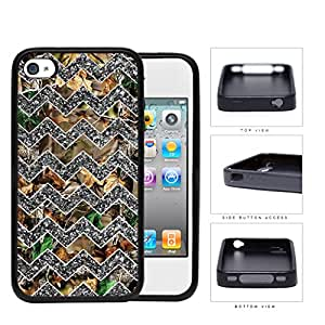 Silver Grey Chevron with Tree Camo Oak iPhone 4 4s Rubber Silicone TPU Cell Phone Case