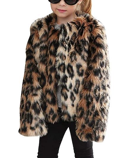 FuweiEncore Toddler Baby Girls Abrigo de Piel sintética Leopardo impresión Parka Abrigo cálido Chaqueta niños Snowsuit