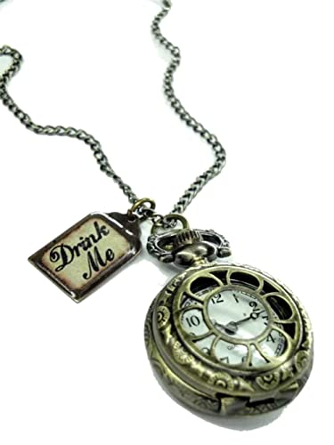 Alice in wonderland drink me pocket watch necklace d amazon alice in wonderland drink me pocket watch necklace d mozeypictures Images