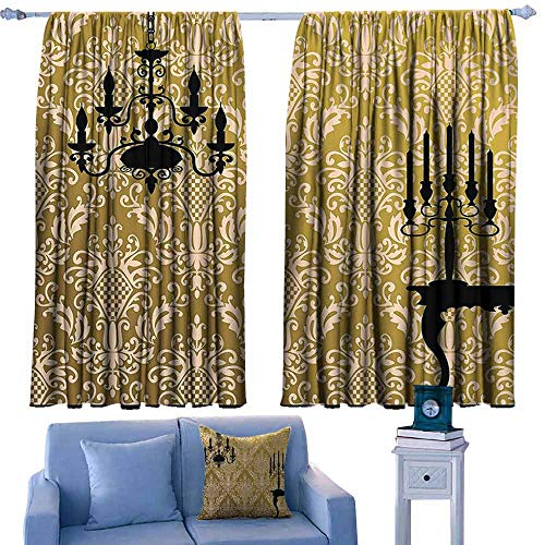- DONEECKL Decorative Curtains for Living Room Damask Decor English Country House Damask Motif on Wall and Chandelier Silhouettes Renaissance Decor Noise Reducing Curtain W55 xL45 Golden Black