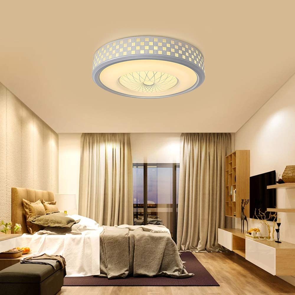 Neporal 30W Ceiling Fixture Dimmable 3 Color Temperature Adjustable 16 Inch Flush-Mount-Ceiling-Light-LED Modern for Bedroom Study Living Room Kitchen
