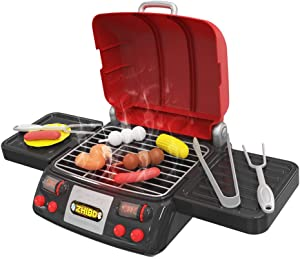 ALeaf Pretend Play Food BBQ Playset Kitchen Toys with Light and Smoke Funny Grill Cooking Play Toy for Kids Toddlers