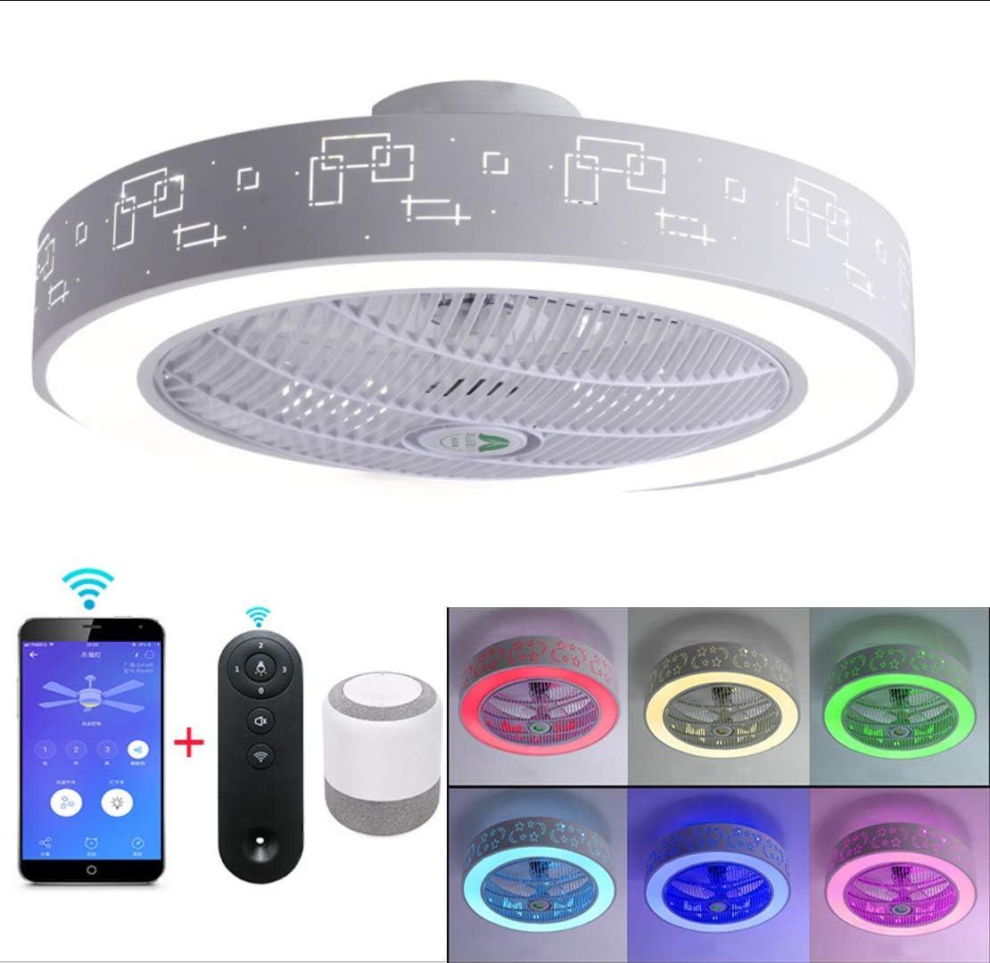 WIVION Ventiladores de Techo LED con iluminación con Altavoz Bluetooth Lámpara de Techo RGB Home Música Moderna Lámpara de Techo Luz de Ventilador Adecuada para Sala,1
