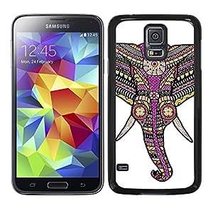 Funda carcasa TPU Gel para Samsung Galaxy S5 diseño ilustración elefante estampado azteca rosa borde negro