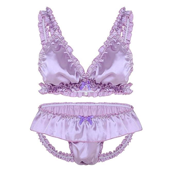 5c279e6261c7 inlzdz Men's Frilly Ruffled Satin Lingerie Set Sexy Bra Tops Sissy Pouch  Panties Nightwear Light Purple