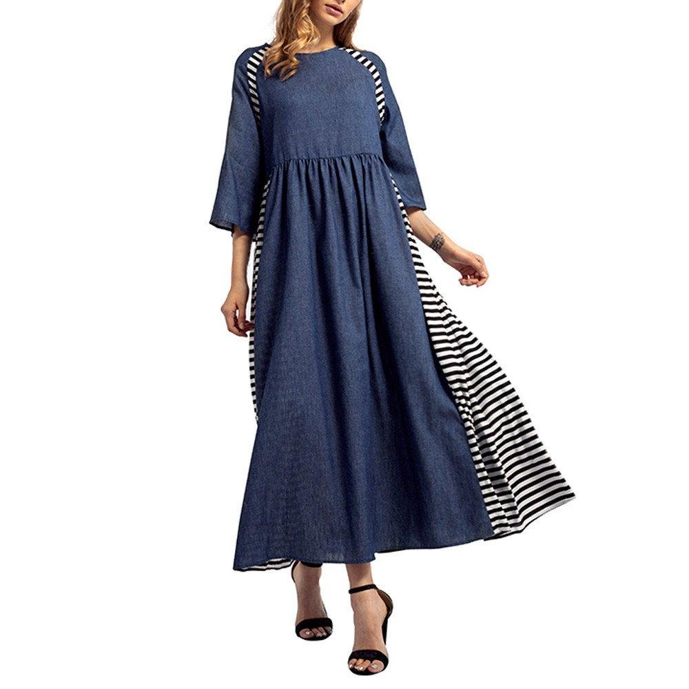 Clearance Womens Clothing WEUIE Women Striped Denim Long Dress Islamic Muslim Middle East Maxi Robe Dresses (L, Blue)