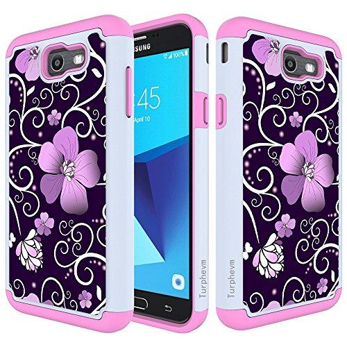 Galaxy J7 V Case, Galaxy J7 Sky Pro / J7 Perx /J7 Prime/Halo Case,Turphevm [Drop Protection] [Shock Absorption] Dual Layer Hybrid Defender Anti-Slip Case for Samsung J7 2017 (Pink Violet)