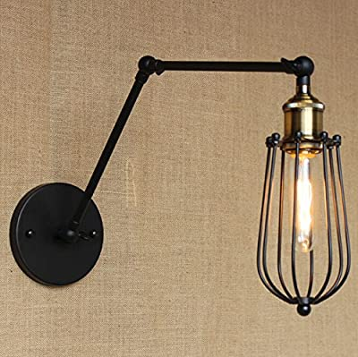 corridors Swing-Arm Wall Lamp cage shape Industrial Edison Simplicity Wall Mount Light Sconces America Country style Vintage long arm Wall Lamp