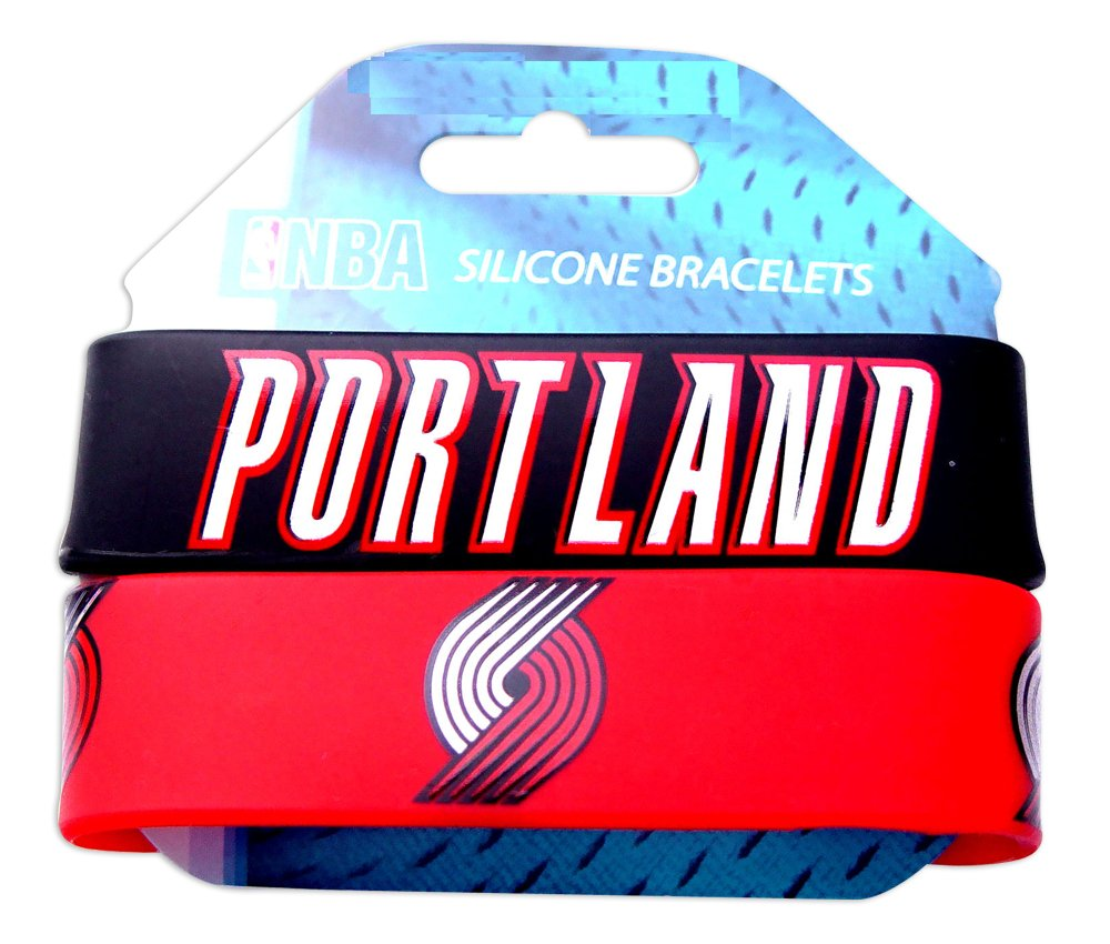 NBA Portland Trailblazers Silicone Rubber Bracelet 2 Pack