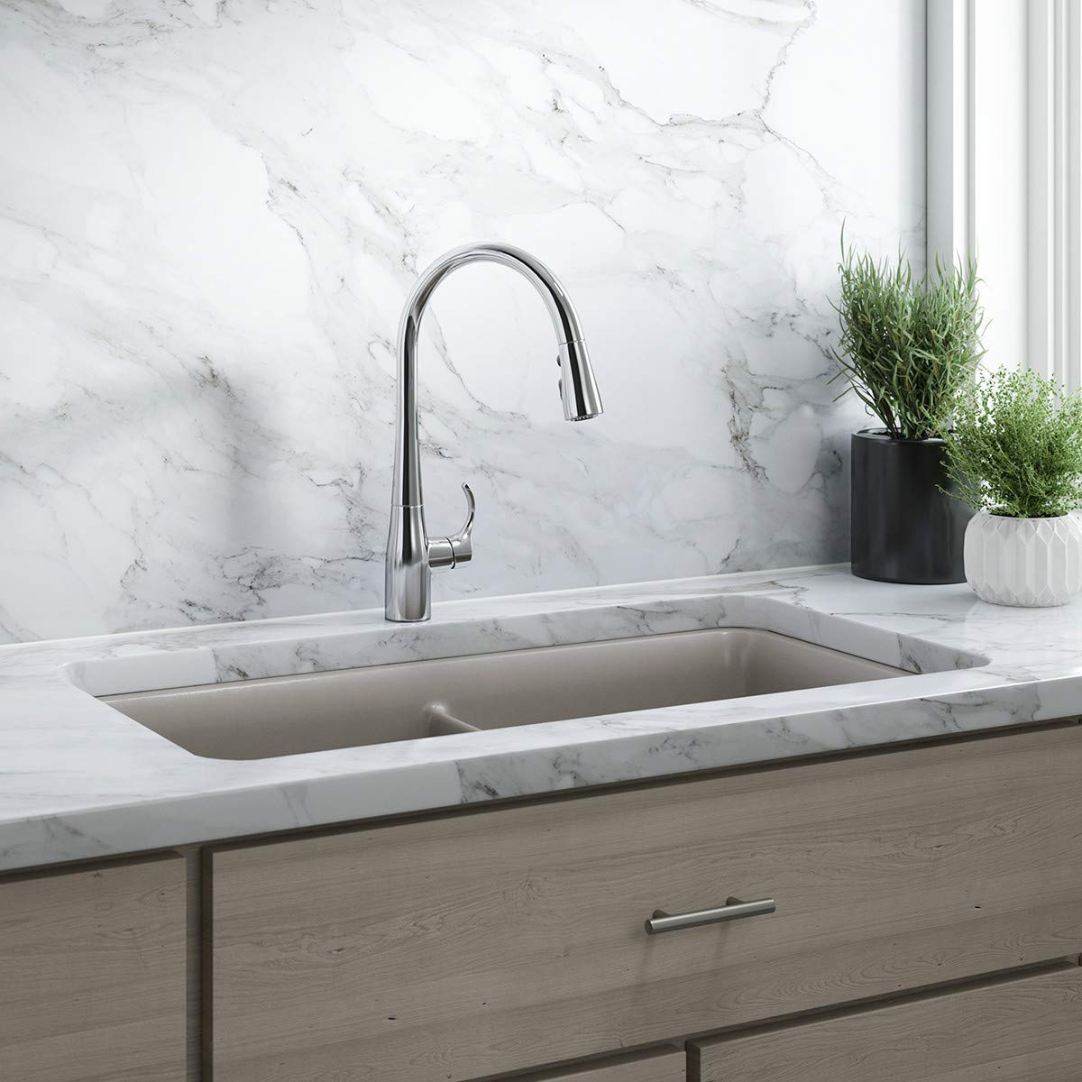 KOHLER K-596-CP Simplice High-Arch Single-Hole or Three-Hole, Single Handle, Pull-Down Sprayer Kitchen Faucet, Polished Chrome with 3-function Spray Head, Sweep Spray and Docking Spray Head Technology by Kohler (Image #3)