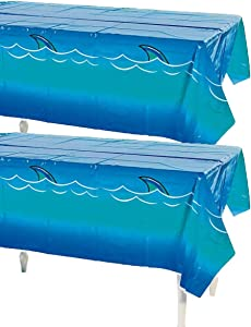 """Fun Express Awesome Shark Tablecloth 54"""" x 108"""" Pool Party, Disposable Décor (2 Pack)"""
