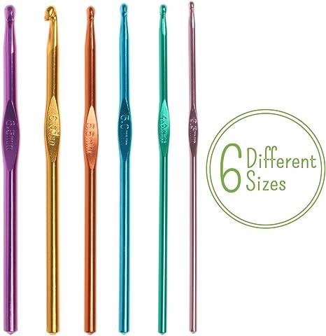 6pcs Needles Set Aluminum Hooks Sizes 6 Sizes Weave Plastic Knit Crochet