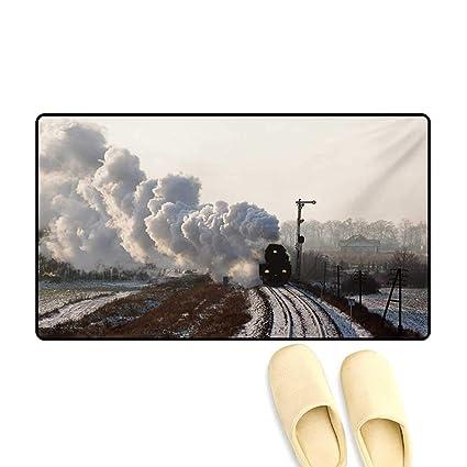 Amazon com: Doormat,Train on Rails Winter Snow Landscape