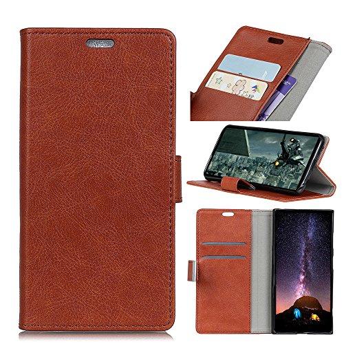 Funda Sony Xperia XA2 [Happon] Ranuras para Tarjetas y Billetera Carcasa PU Libro de Cuero Flip Leather Cierre Magnético Soporte Plegable para Sony Xperia XA2 (Negro) Marrón Claro
