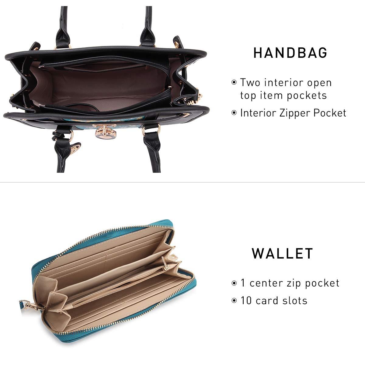 DASEIN Womens Fashion Handbags Shoulder Bag Satchel Purse Tote Top Handle Work Bag 2pcs Set for Ladies Women KC-XL-12-7103-W-LPD//BK-FN-FBA