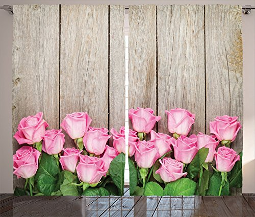 Roses Decorations Collection Pink Roses Over Wooden Timber Table Valentines Day Top View Picture Living Room Bedroom Curtain 2 Panels Set Pink Green Beige