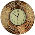 "Lulu Decor, Baltic Amber Mosaic Wall Clock, Decorative Round Wall Clock in Arabic Dial, Diameter 19"", Dial Size 9"" Perfect for Housewarming Gift."