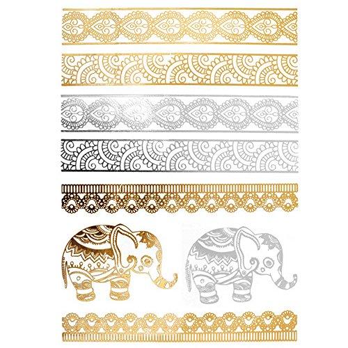 COKOHAPPY Metallic Temporary Tattoo , Elephant Armband Fake Jewelry Gold Silver -