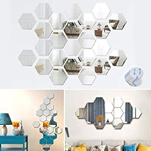 "24 PCS Acrylic Mirror Wall Stickers with 3M Adhesive Pads, 3D Hexagon Mirror Wall Decal Self Adhesive Tiles for Home Living Room Bedroom Decor, 4.96"" X 4.33"" X 2.48"""