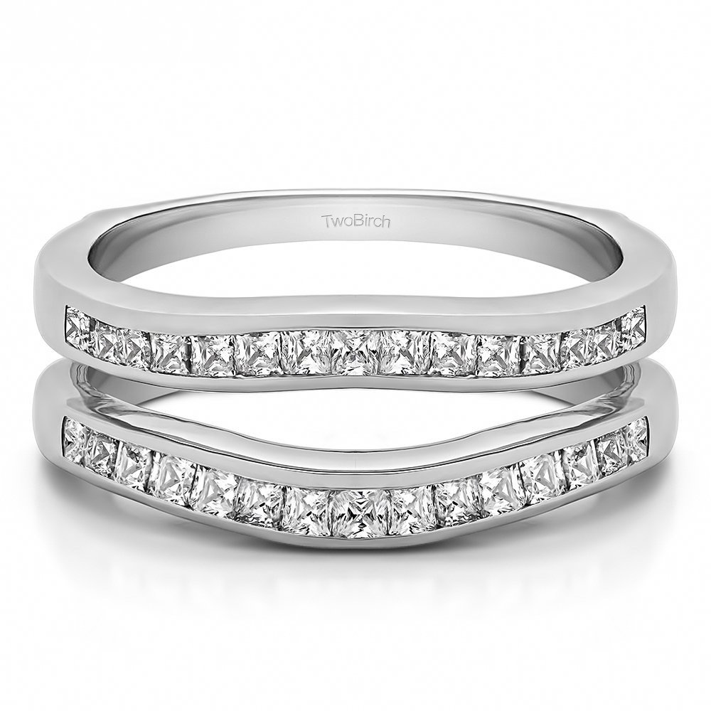 TwoBirch Delicate Contour Channel Wedding Ring with 0.9 carats of Cubic Zirconia in Sterling Silver