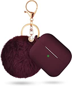 Case for Airpods Pro Case, BLUEWIND Airpod Pro Case Cover for Air pods Charging Case, Cute Silicone Protective Case for AirPods Compatible with Airpod 3 Accessories Keychain (Burgundy)