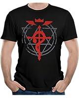 Men's Fullmetal Alchemist Brotherhood Flamel Cross T Shirts Funny Printing Shirt