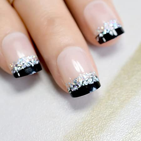 Amazon.com : Sparkly Glitter French Nail Tips Black Side Nude Short Full Wrapped Fake Pre-Designed Nails Art For Decoration Salon Z816 pink : Beauty