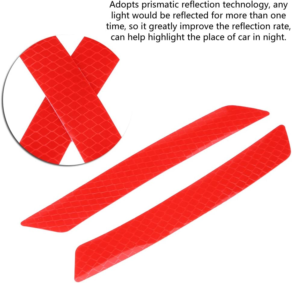 Red Qiilu 4Pcs Car Wheel Eyebrow Reflective Sticker Safety Warning Strip Tape Sticker Decal Safety Warning Mirror Protection Paste