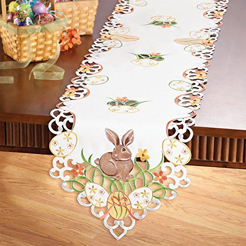 Easter Bunny and Eggs Table Linen with Embroidered Edges and White Base Color - Colorful Flowers and Bows Accents to Decorate Easter Table