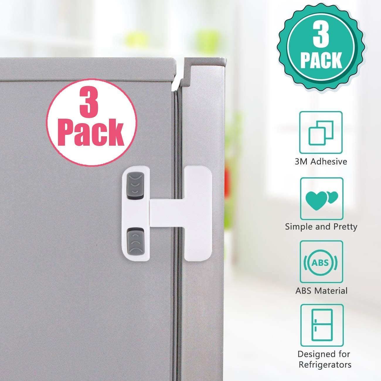 Fridge Door Lock for Kitchen Safety Guard,Refrigerator Freezer Door Lock for Baby Child Toddler Pet Proof Safety Lock Easy to Install and Use 3M Adhesive No Tools Need or Drill (White,3 Pack)