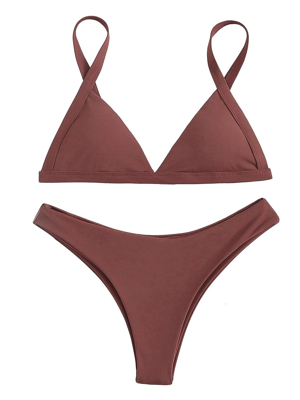 1 rust SweatyRocks Women's Burgundy Plain Wire Free High Leg Triangle Bralette Bikini