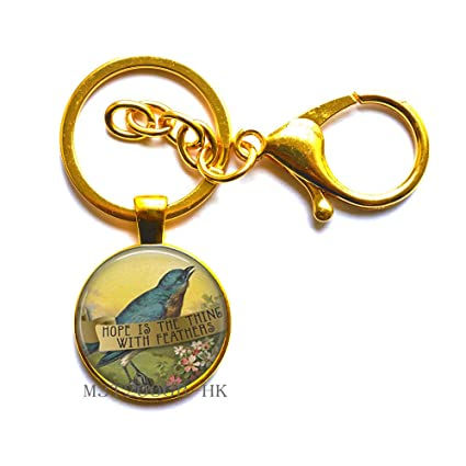 Amazon.com   Hope is The Thing with Feathers Logo Key Ring Keychain  Literary Quote Handmade Key Ring Literary Jewelry-MT128 (W1)   Office  Products d2738d44c