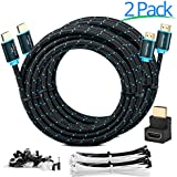 Maximm High-Speed HDMI 2.0 4K Nylon Braided Cable, 20 Feet - 2-Pack - 28 AWG (Includes Cable Clips, Ties and Right Angle Adapter)