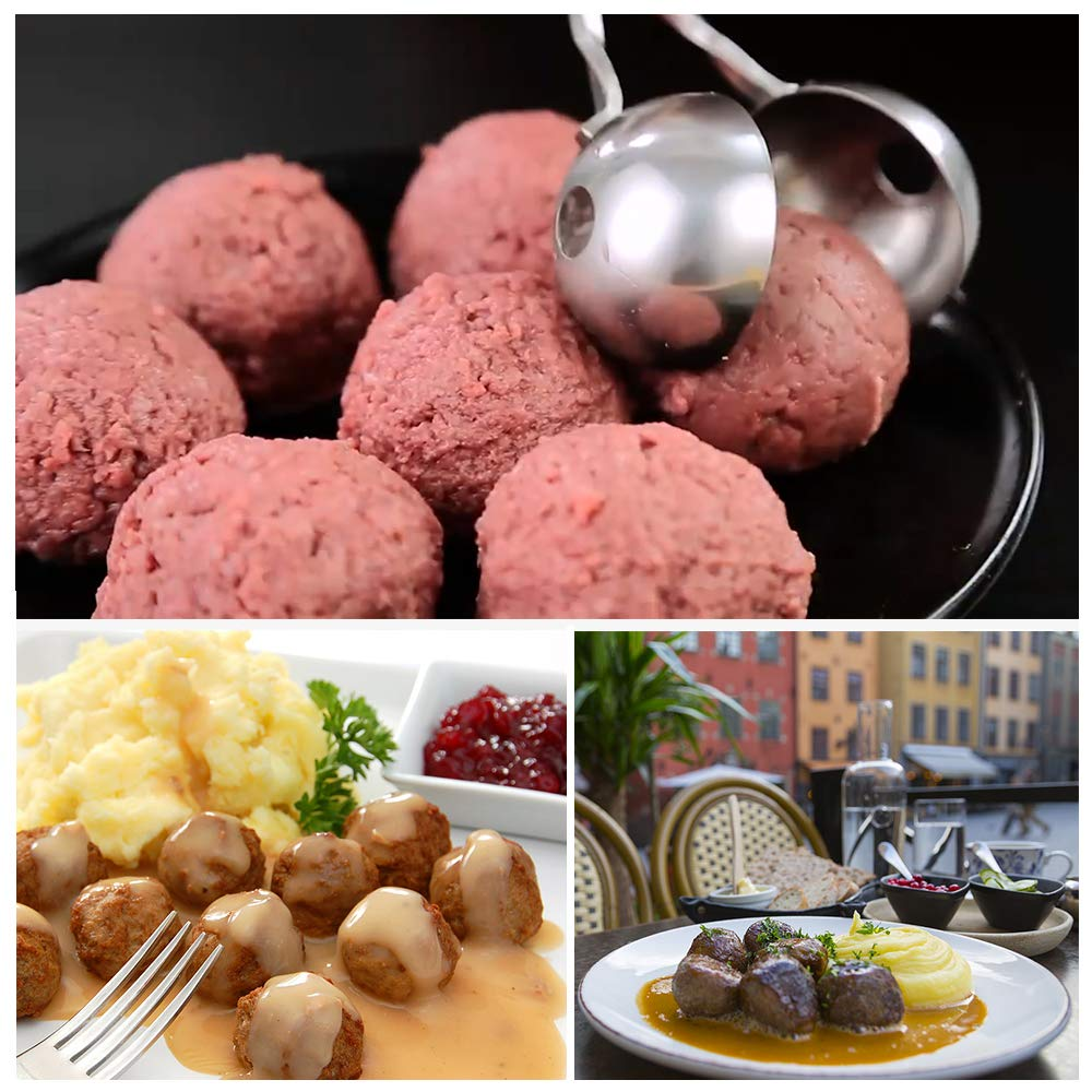 Meat Baller, 2 PCS None-Stick Meatball Maker with Detachable Anti-Slip Handles, Stainless Steel Meat Baller Tongs