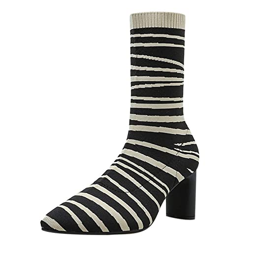 b4e401a629351 Amazon.com: Women Zebra Pattern High Heels Boots, NDGDA Elasticity ...