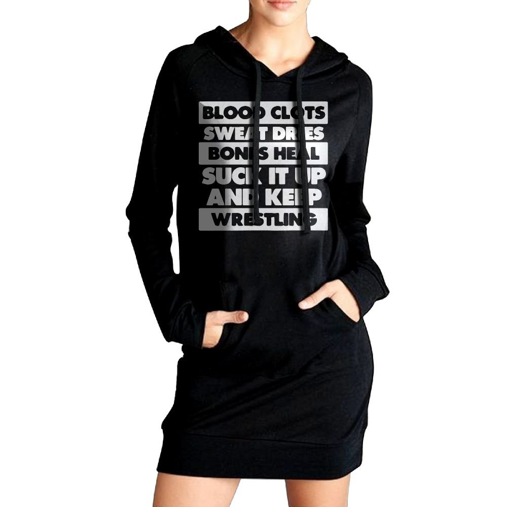 WU-RONGRONG WU Sweatshirt Dress Hoodie Pockets Suck It Up And Keep Wrestling Long Hoodie For Women by WU-RONGRONG WU