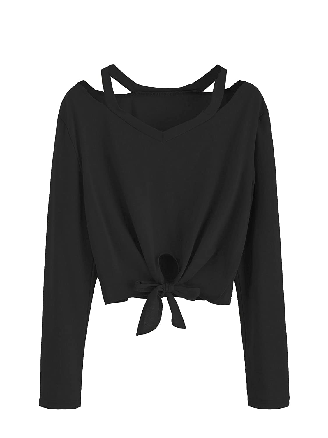 2black SweatyRocks Women's Crop TShirt Tie Front Long Sleeve Cut Out Casual Blouse Top