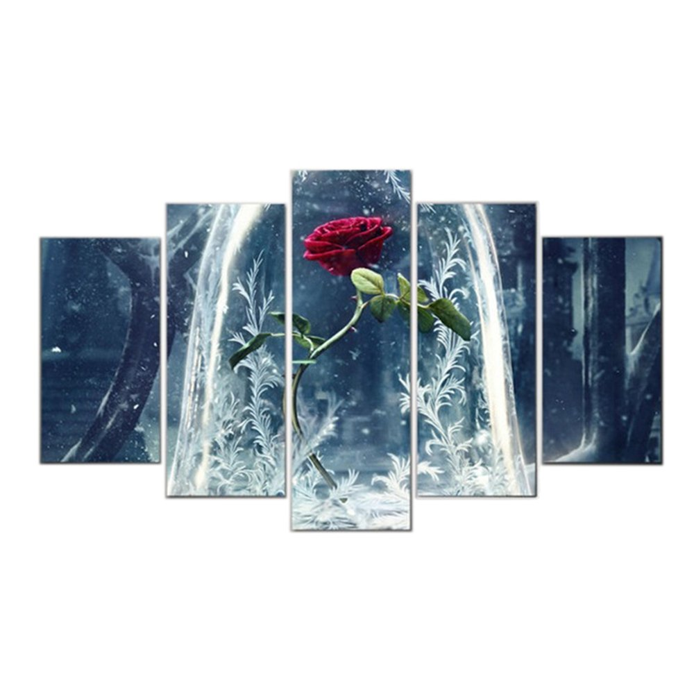 GUAITAI 5 Pcs Movie Beauty & Beast Red Rose Canvas Wall Paintings Home Decoration Living Room Art Pitures (Red Rose/Have Frame, 11x15inchx2+11x23inchx2+11x31inchx1)