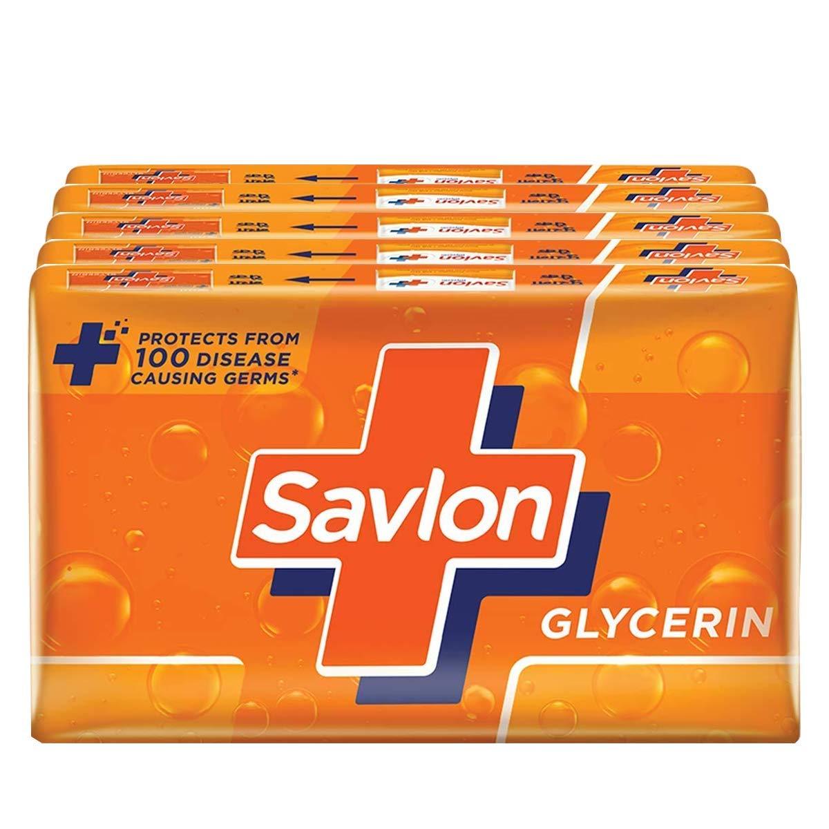 Savlon Glycerin Soap Bar, 125g (Pack of 5)