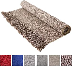 Decorative Reversible Cotton Printed Rug, Tassels Area Rug Hand Woven Rag Rug Entryway Thin Throw Rug for Laundry Room Living Room Dorm, Coffee