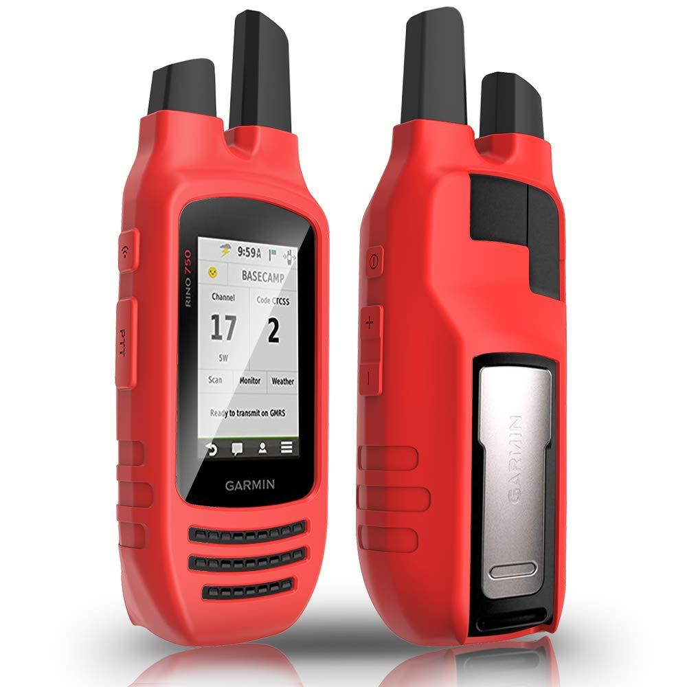 Silicone Protective Cover TUSITA Case for Garmin Rino 750 755T Handheld GPS Accessories Red