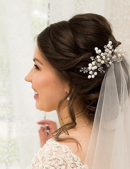 Kercisbeauty - Peineta de novia con cristales y perlas, estilo vintage, para novia,