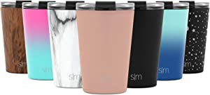Simple Modern 12oz Classic Tumbler Travel Mug with Clear Flip Lid & Straw - Coffee Vacuum Insulated Gift for Men and Women Beer Pint Cup - 18/8 Stainless Steel Water Bottle -Rose Gold