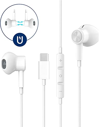 USB C Headphones,HiFi Stereo Magnetic USB C Earbuds,Noise Cancelling Type C Headphone with Mic Volume Control Compatible with Google Pixel 3 2 XL,Sony XZ2, OnePlus 6T,MacBook,iPad Pro 2018Essential