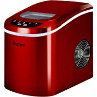 Costway Portable Compact Electric Ice Maker Machine Counter Top, Mini Cube 26lb of Ice Daily (Red)