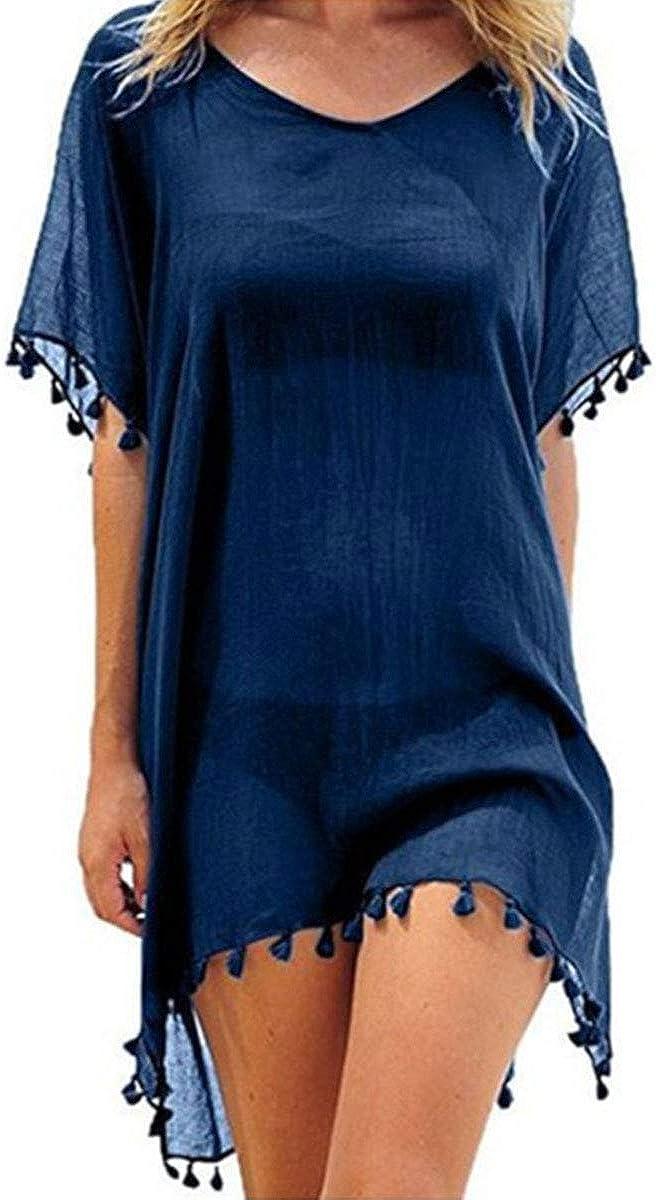 YouGa Mujer cubretrajes – Cubre disfraz de mujer playa de playa cubre bañador mujer Cover Up gasa napa túnica traje de baño túnica verano vestido de playa entero para mujer